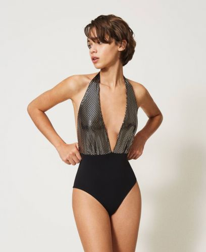 Twin Set laminated one-piece swimsuit