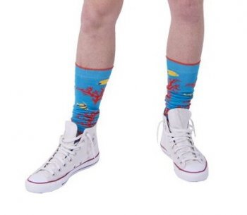 MULTI COLOR STRIPED COTTON MEN'S KNEE SOCKSMOG/AEGEAN BLUE