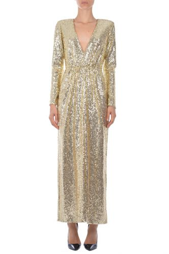Long dress sequins AnnaritaN Gold I18570JL028